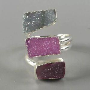 Jewelry - New Genuine Druzy Wrap Ring Silver